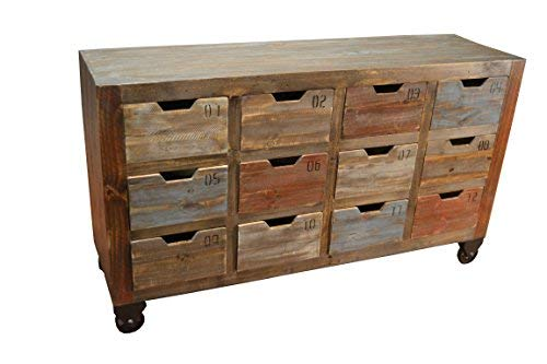 Crafters and Weavers Bayshore Industrial Rustic Solid Wood Console Chest of Drawers Media Stand w/Multiple Drawers on Wheels