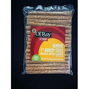 Ol' Roy Rawhide 5″ Munchy Sticks Dog Treats 50 Count Per Bag