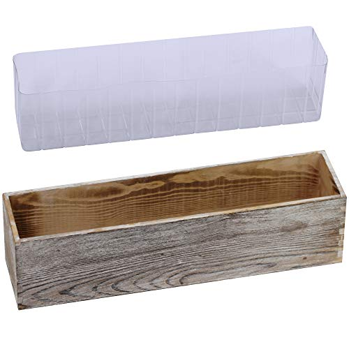 "1 Pcs Wood Planter Box Rectangle Whitewashed Wooden Rectangular Planter Decorative Rustic Wooden Box with Inner Plastic Box - 17.3"" L x 3.9"" W x 3.9"" H Floral Natural Centerpieces Rustic Wedding Decor"
