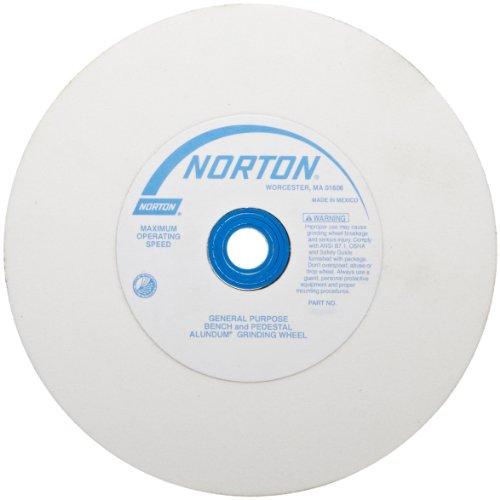NORTON Abrasives - St. Gobain Premium Alundum 38A (07660788283) Type 01 Bench and Pedestal Wheel, Very Fine Aluminum Oxide Abrasive, 1' Arbor, 8' Diameter x 1' Thick