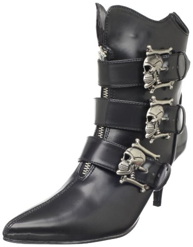 Demonia FURY-06, Damen Kurzschaft Stiefel, Schwarz (Schwarz (Blk Nappa Vegan Leather)), 41 EU (8 Damen UK)