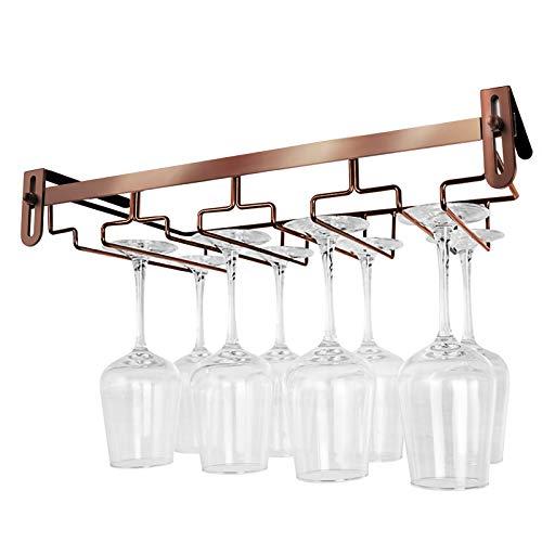 Soporte para copas de vino, soporte para copas de vino colgado bajo el armario, soporte de copas de vino de metal, soporte para copas de vino ajustable, organizador de copas de vino (bronce, 4 filas)