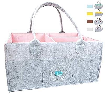Baby Diaper Caddy Organizer - Baby Shower Gift Basket for Girls | Nursery Storage Bin Changing Table Diaper Change | Portable Car Organizer for Travel | Newborn Registry Must Haves (Pink) by Lil Dandelion