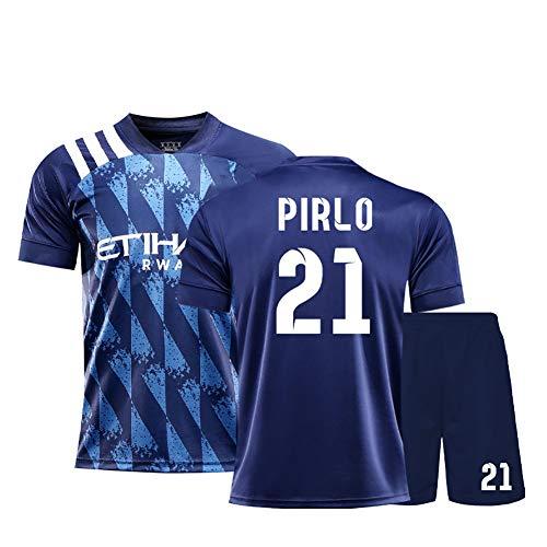 Fans Fußball Trikot Pirlo # 21 OAVIO Villa # 7, 19-20 Saison Fußballuniform für Männer, Fußball T-Shirt Shorts Kits, Fußballuniform für Jugendliche-blue21-20