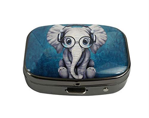 PTCRMG Image Custom Unique Pill Box Case Tablet Pocket Purse Travel Pill Decorative Box Case Holder (Cute Elephant Pattern)