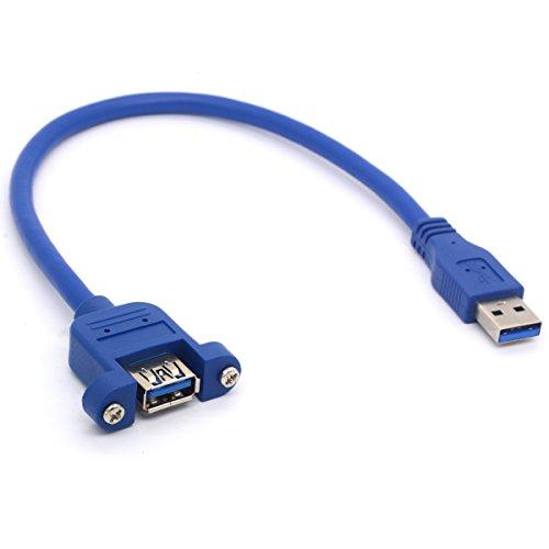 Cavo di prolunga USB 3.0 da maschio a femmina, cavo adattatore con vite per montaggio a pannello, per computer industriali, PC, 30 cm