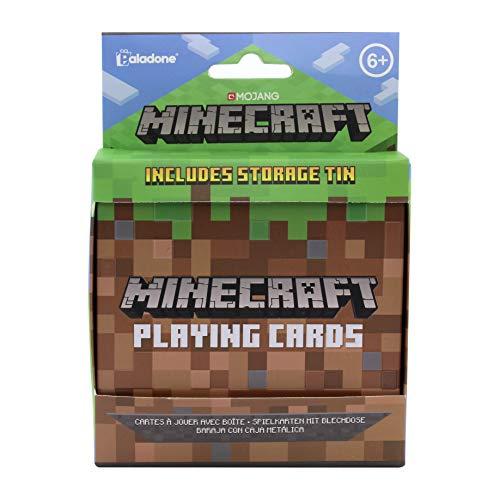 Minecraft Kartenspiel - Playing Cards - braun/grün, bedruckt, Spielkarten 100 % Pappe, Dose 100 % Metall