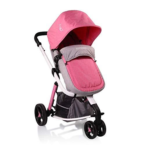 Combikinderwagen Sarah 2 in1 inklapbaar, luiertas, vouwdak, verstelbaar, mand roze