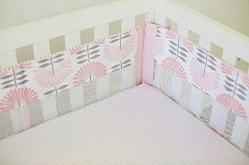Petunia Pickle Bottom Dreaming in Dax 4 Piece Secure-Me Crib Liner, Pink/Gray/White