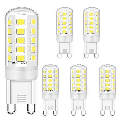 G9 LED Dimmbar Lampen 4W Ersatz für 28W 30W 40W Halogenlampen, G9 Led Glühbirnen Kaltweiß 6000K, G9 Licht Leuchtmittel, G9 Fassung LED Lampen, kein Flimmern, 420LM, AC 220-240V, 5er Pack
