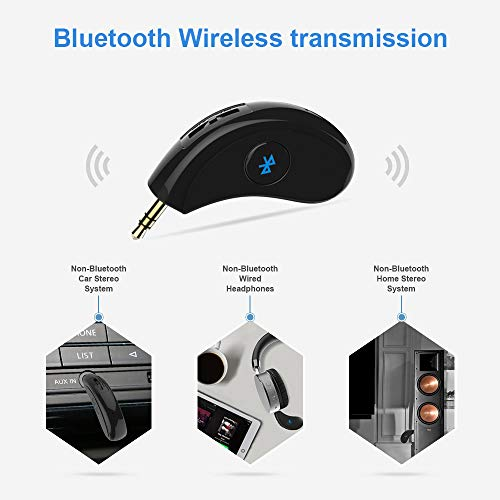 Bluetooth 4.2,A2DP,40feet Bluetooth Range Headphone Bluetooth Receiver // Hands-free Car Kit Esuper Portable 3.5mm Bluetooth Aux Adapter Wireless Music Streaming for Home Speaker Car Audio System