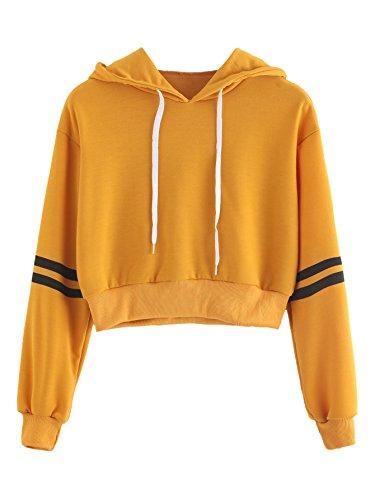 MAKEMECHIC Women's Casual Striped Long Sleeve Crop Top Hoodies Pullover Sweatshirt Mustard M