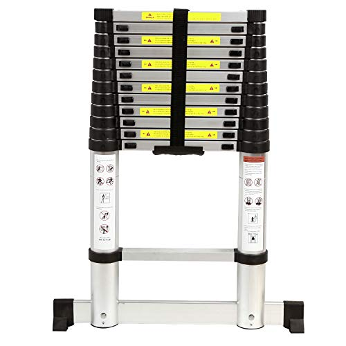 Varbucamp Aluminum Telescoping Ladder 8.5ft with Stabilizer Bar, Folding Telescopic Extension Ladder for RV Home Outdoor Use, Hold 350lbs Capacity