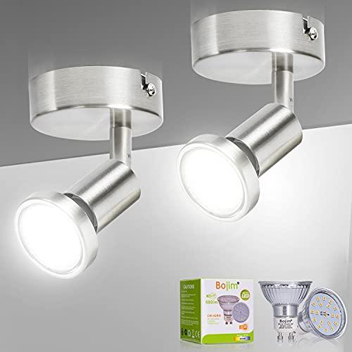 Bojim 2 Pezzi Faretti LED da Soffitto Orientabili,1 Faretto LED Interno,Plafoniera o Lampada da Parete, Applique da parete per Cucina, Include 2 Lampadine GU10 LED (6W, 600lm, 4500K Bianco Naturale)