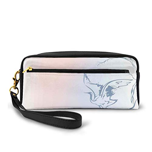 Pencil Case Pen Bag Pouch Stationary,Winter Landscape With Crane On Tree Branch Bird Nature Themed Monochrome Artwork,Small Makeup Bag Coin Purse