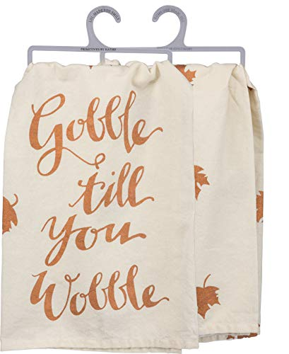 Fall-Inspired Metallic Dish Towel, 28 x 28-Inch, Gobble Til You Wobble
