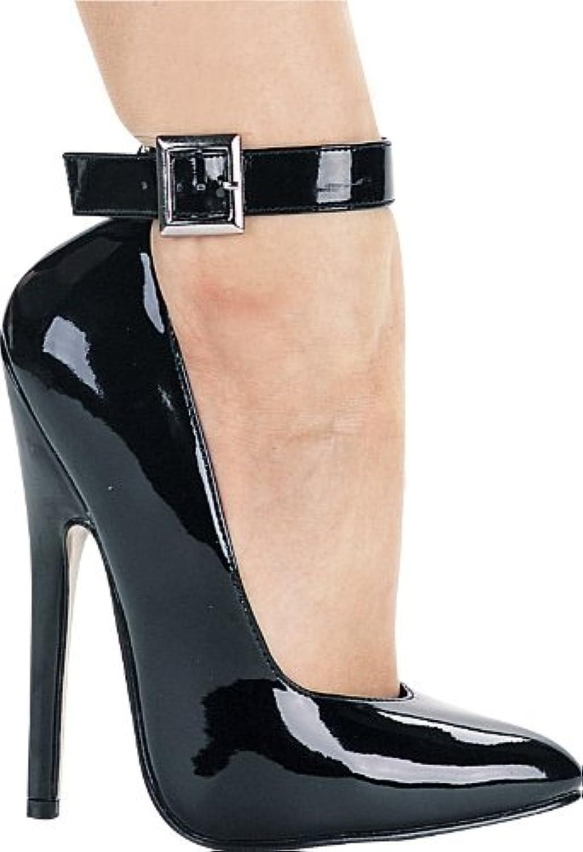 Ellie shoes Women's 6 Inch Heel Fetish Pump with Ankle Strap Black