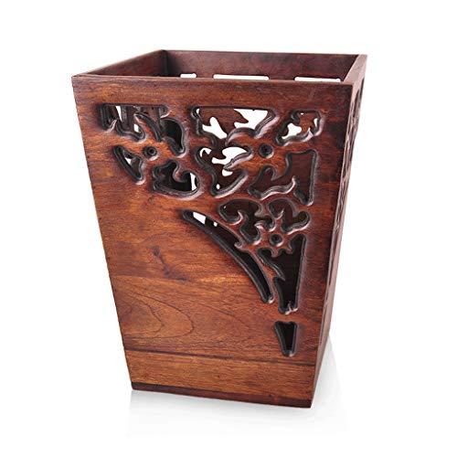 Zhome vuilnisemmer, gerecyclede houten afvalemmer, met teakgesneden creatieve handgemaakte vuilnisemmer, voor binnen en buiten