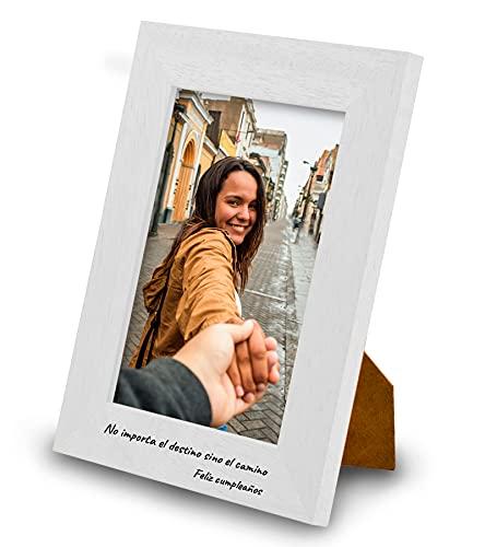 Marco de Fotos PERSONALIZABLE con tu Texto y con tu Foto - Hecho de madera de pino - Elige tu color, elige el tamaño, agrega tu texto y sube tu imagen. Hecho en España (13 x 18 cm, BLANCO)
