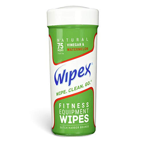 Wipex Natural Gym & Fitness Equipment Wipes for Personal Use, 75 Ct - Perfect for Yoga, Pilates, Dance Studios, Home Gym, Peloton Bikes, Spas, Salons, Watermelon Scent, 1 Canister