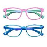 AHXLL キッズ 男の子用 女の子用 ブルーライトカット 眼鏡 2点パック 目の疲れ防止 UVカット コンピューターゲーム テレビ 携帯電話 メガネ 3~9歳用