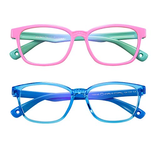 AHXLL Kids Blue Light Blocking Glasses 2 Pack, Anti Eyestrain & UV Protection, Computer Gaming TV Phone Glasses for Boys Girls Age 3-9 (Pink Green+ Transparent Blue)