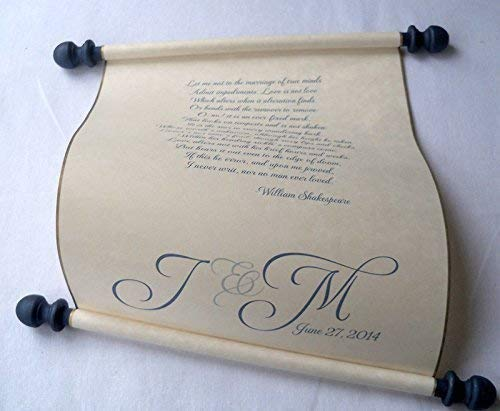 """Custom printed scroll for wedding vows, anniversary letter or secret message, 8x17"""" parchment paper"""