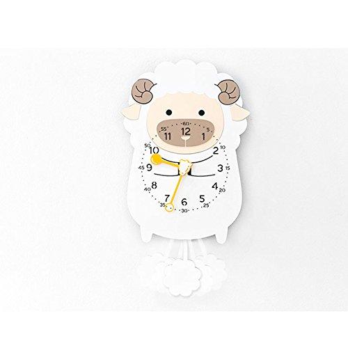ZhoBinH- Mignon Cartoon Swing Horloge Murale Moderne Pendule Décorative Horloge Créative Animal Horloge Pendule Horloge (taille : Mouton)