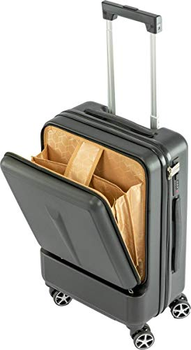 MaxxHome ABS Travel Suitcase with Integrated Combination Lock - Black - Telescopic Handle - 360° Wheels