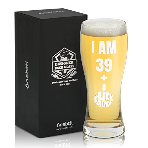 Onebttl Funny 40th Birthday Gifts for Men or Him - 39 + 1 Middle Finger - 15oz/450ml Beer Glass - 40...