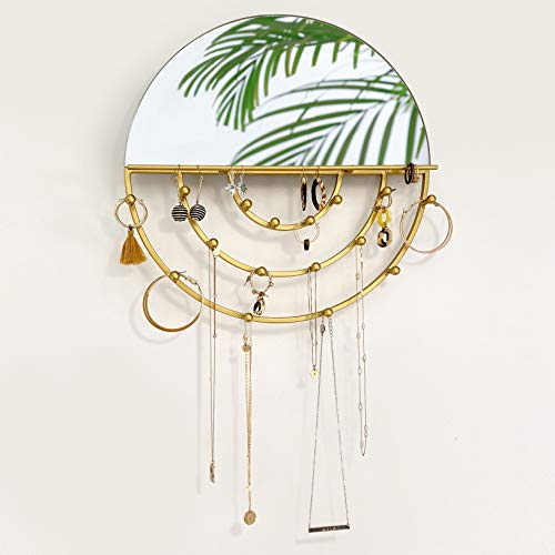 Five Magpies Wall Jewelry Organizer Round Mirror for Hanging Necklaces, Bracelets, Dangle Earrings, Ring Holder & Mounted Hooks - Gold - 13 inches Patented