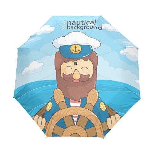 FANTAZIO 3-voudige reisparaplu glimlachende zeeman auto open paraplu