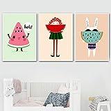 Pintura en lienzo, carteles de sandía de dibujos animados, impresiones, imagen artística de pared para habitación de niños, decoración del hogar, 30x50cmx3 sin marco
