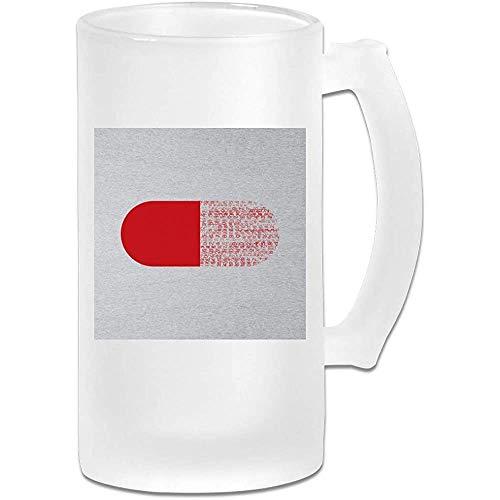 Tazza di birra Stein in vetro smerigliato stampato 16 once - The Matrix Red Pill Minimal - Tazza grafica