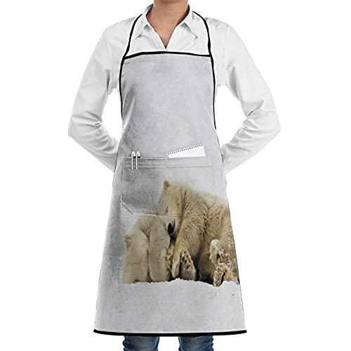 FAKAINU Delantal de cocina impermeable para hombres delantal de chef para mujeres restaurante de jardinería barbacoa cocinar hornear,Los osos polares duermen unos contra otros con animales