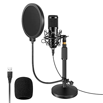 Neewer USB Microphone with Stand Kit - 192KHz/24Bit Plug&Play Cardioid PC Condenser Mic with Round Base Mic Stand Pop Filter and Shock Mount for Computer YouTube/Gaming Recording/Podcasts/Singing
