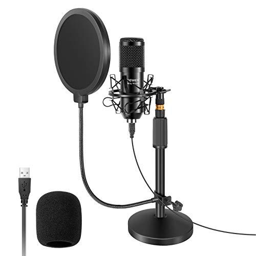 Neewer USB Mikrofon mit Ständer Set: 192kHz/24Bit Plug&Play Nieren PC Kondensatormikrofon, rundem Ständer, Pop-Filter und Stoßdämpferhalterung für Computer, YouTube/Gaming-Aufnahme/Podcasts/Gesang