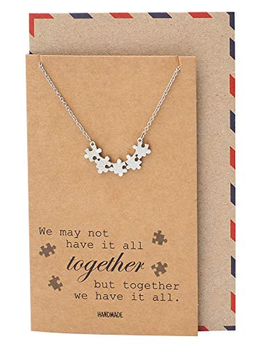 Quan Jewelry Puzzle Piece Friendship Necklace, Great Mothers Gift Ideas, Sisters and Friends Charm with Inspiring Family Quote Card, Autism Awareness Jewelry