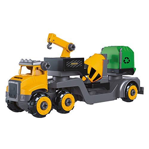 Mondo Construction Truck Trailer Assemble-Playset 30 Pezzi Smontabile-Camion Giocattolo Costruzioni Set 4 in 1, Colore Giallo/Verde, 51178