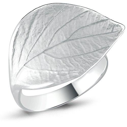 Vinani Ring Blatt sandgestrahlt glänzend breit Sterling Silber 925 Größe 62 Baum (19.7) 2RBT62