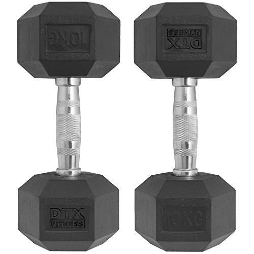 DTX Fitness 2x 10kg Rubber Dumbbell Hex Weights