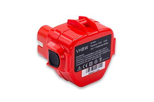 vhbw Batería reemplaza Makita 1220, 1222, 1233, 1234, 1235, 1235F, 1250, 192536-4, 192597-4 para herramientas eléctricas (1500mAh NiMH 12V)