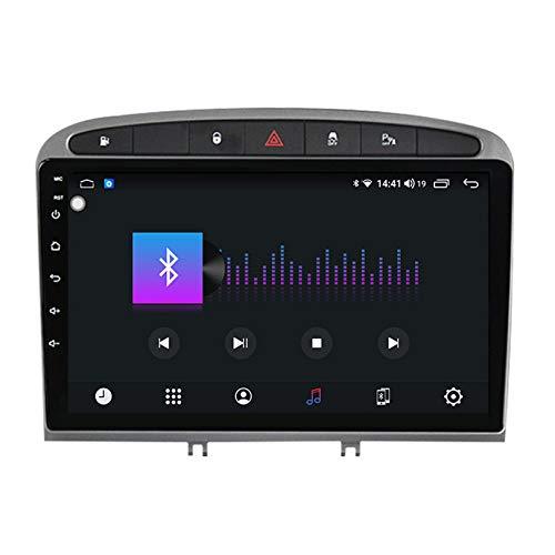 HP CAMP Autoradio 2 DIN Android 10 per Peugeot RCZ 308 408 2010-2016 GPS Navigation Multimedia Player Autoradio DSP Carpaly Integrato 8 Core,Grigio,4+64G