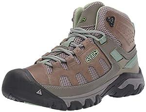 KEEN Women's Targhee Vent MID Hiking Boot, Fumo/Quiet Green, 5 M US