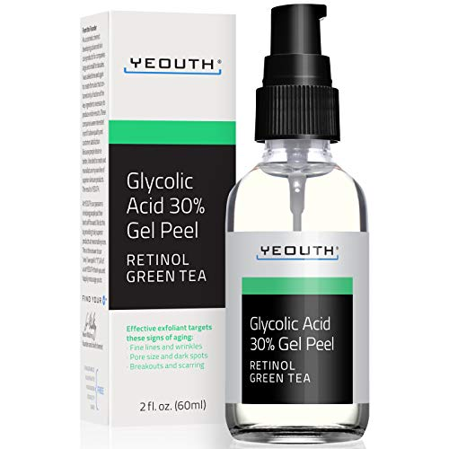 Glycolic Acid Peel 30% Professional Chemical Face Peel with Retinol, Green Tea Extract, Acne Scars, Collagen Boost, Wrinkles, Fine Lines, Sun - Age Spots, Anti Aging, Acne (2oz)