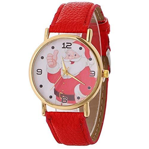 Fliyeong - Reloj de Pulsera para Mujer, diseño de Papá Noel, Esfera Redonda, Cuarzo, analógico, números arábigos, Color Rojo, Creativo y útil