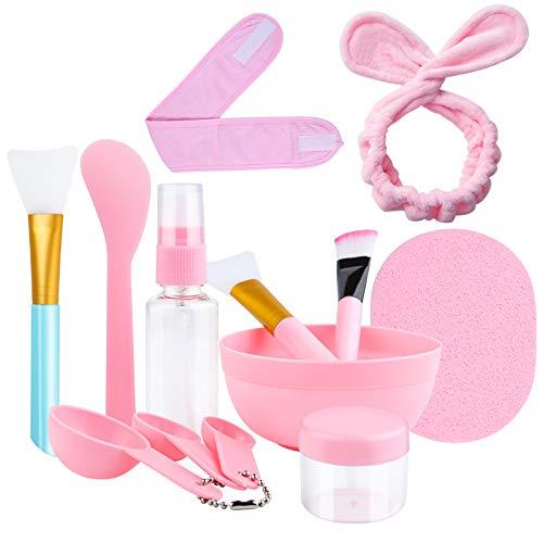 13 Stück DIY Gesichtsmaske Rührschüssel Set,DIY Gesichtsmaske Mixing Bowl Kit Maskenpinsel Silikon mit Haarbänd Gesichtsmaske Bowl Stick Sprühflasche für Gesichtsmaske,Augenmaske oder DIY Hautpflege