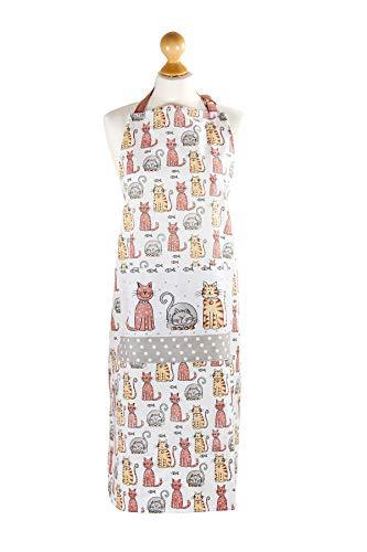 SPOTTED DOG GIFT COMPANY Katze Schürze Kochschürze Küchenschürze mit Tasche Qualität Weiß Baumwolle Niedliches Katze Design Geschenk für Damen Katzen Tier Liebhaber