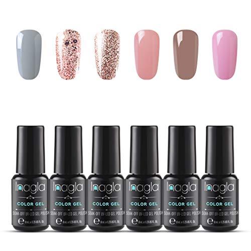 Inagla UV-LED gel-nagellak, UV-nagellak kleurenset voor nagel ontwerp gel-lak, losweken gel nagellak voor nail art manicureset 6pcs 010