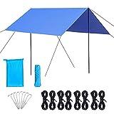 0℃ Outdoor Toldo Camping Impermeable, 3x3m Ripstop Rain Tarp Beach Tent de Tela Oxford Impermeable de 2000 Mm Hamaca Tienda de Campaña Refugio para Camping, Senderismo, Mochila,Dark Green